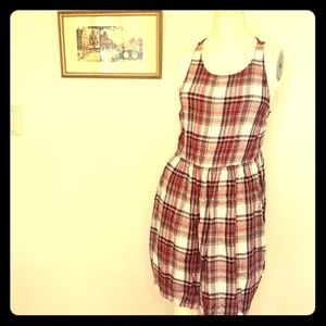 Forever 21 red plaid/flannel midi dress